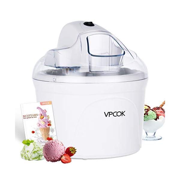 VPCOK Macchina del gelato 1,5L Gelatiera Autorefrigerante Macchina Gelato Macchina del Gelato con Bocca sul Grande… 1