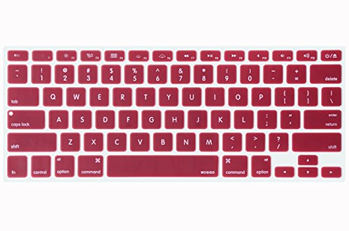Price comparison product image Mosiso Keyboard Cover for Macbook Pro 13 Inch,  15 Inch (with or without Retina Display,  2015 or Older Version) Macbook Air 13 Inch,  Wine Red