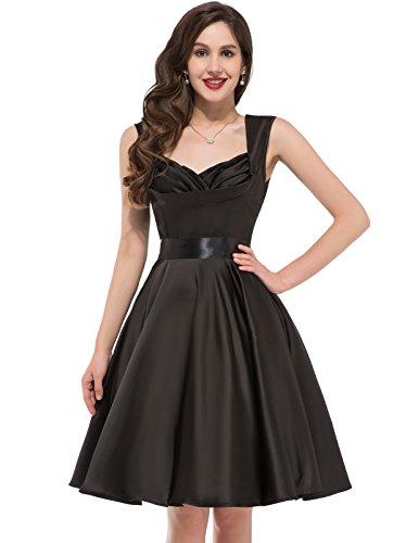 Sleeveless 1940's Vintage Swing Dresses Prom Dress Black Size L CL6030-1
