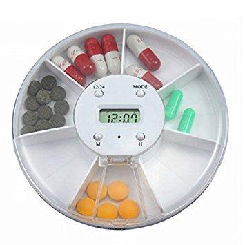 bestomz Portablle 7-compartment alarma reloj dispensador de la píldora, pastillero electrónico recordatorio de