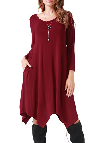 Invug Women Casual Loose Soft Crewneck Long Sleeve Pockets Swing T-shirt Dress Dark Red XXL by Invug