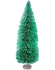 Amosfun 10PCS Artificial Mini Christmas Trees Sisal Trees with Wood Base Bottle Brush Trees for Christmas Table Top Decor Winter Crafts Ornaments (Green)