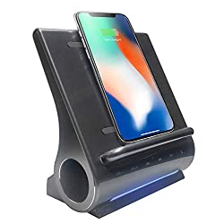 Azpen Dockall D108 Wireless Charging Dock w/Bluetooth Speakers. Qi-Certified Wireless for 7.5W Charging with iPhone Xs Max/XR/XS/S/ 8/ 8Plus/ 10W for Galaxy S10/ S9/ S9+/ S8/ Note 9 - Gray