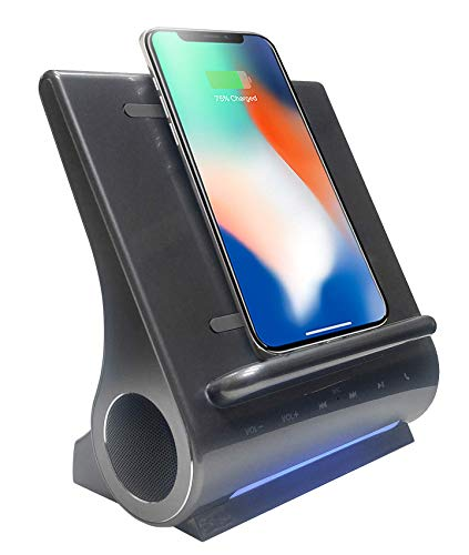 (Azpen Dockall D108 Wireless Charging Dock w/Bluetooth Speakers. Qi-Certified Wireless for 7.5W Charging with iPhone Xs Max/XR/XS/S/ 8/ 8Plus/ 10W for Galaxy S10/ S9/ S9+/ S8/ Note 9 - Gray)