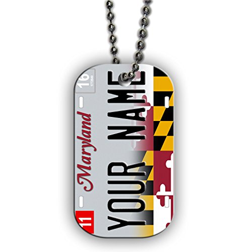 (BleuReign(TM) Personalized Custom Name 2017 Maryland State License Plate Single Sided Metal Military ID Dog Tag with Beaded Chain)