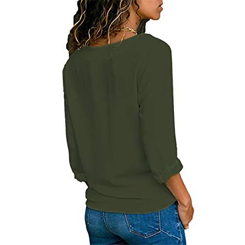 Col V Hauts Unie Arme Tunique Manches Verte Printemps Shirts Longues Chemisiers Automne Couleur Chemises Tee Gavemenget Femmes et Mode Tops Blouses 6Y0ABqaw
