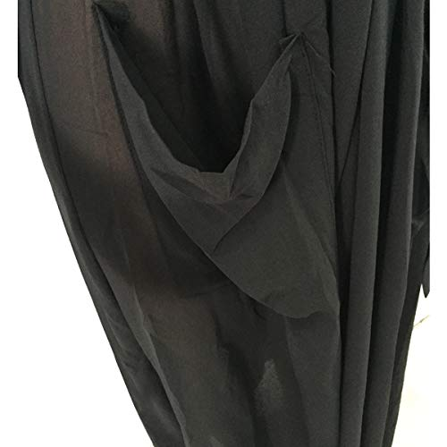 Size Black Soie Mousseline Tie Longues Outwear Manteau Maxi Cardigan de en Sheer XL Solid Pocket Color V Manches Neck Tw8qna