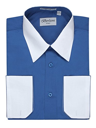 Men's Royal Blue Two Tone Dress Shirt w/ Convertible Cuffs - Large (Two Tone Collar)