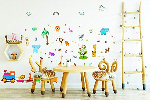 Forest Animals Wall Stickers and Decals for Boys and Girls Rooms, Jungle Peel and Stick Vinyl Decoration for Kids' Bathroom, Infant Toilet, Bedroom, Baby Nursery, and Classroom, Removable Art Mural ()