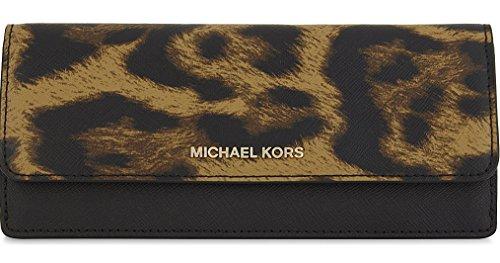 Michael Kors Jet Set Travel Leopard Saffiano Leather - Flat Wallet - Butterscotch - 32F7GF6F2Y-226 by Michael Kors