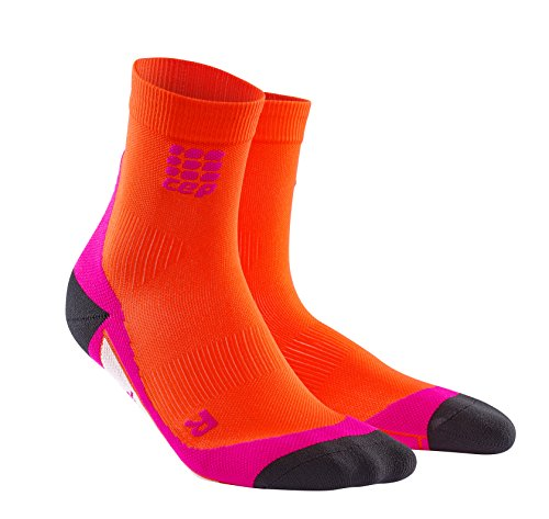 CEP Women's Dynamic+ Short Socks with Compression and Light, Breathable Fit for Cross-Training, Running, Recovery, Tiathletes, and all Endurance and Team Sports, Sunset/Pink, (Sunset Over Pikes Peak)