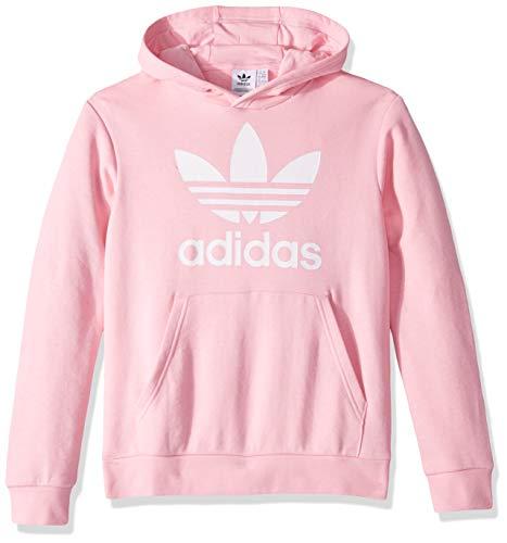 (adidas Originals Boys' Big Trefoil Hoodie, Light Pink/White, Large)
