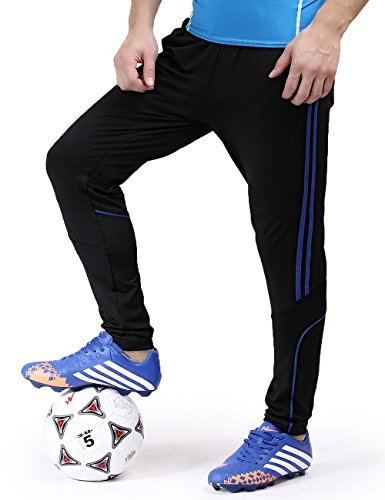 Training Pants Soccer (BONWAY Men's Soccer Athletic Training Sweatpants Track Pants Sports Active Pants Running Jogger Pants Fit Trousers-Pants0002-Blue-L)