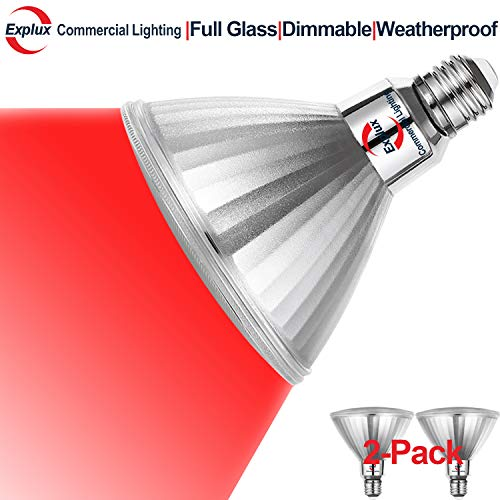 Explux PAR38 Red LED Flood Light Bulbs, Dimmable, Outdoor Weatherproof, 120W Equivalent, 2-Pack