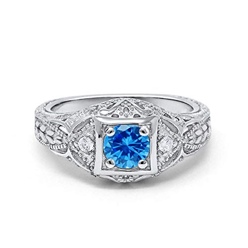 (Blue Apple Co. Art Deco Antique Style Wedding Engagement Ring Simulated Topaz Round Cubic Zirconia 925 Sterling Silver, Size-10)