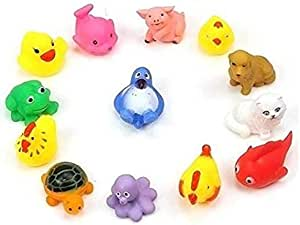 Floating Baby Bath Toy Baby Swimming Pool Playing Toys Mini Rubber Baby Bath Toy, 13 Pcs