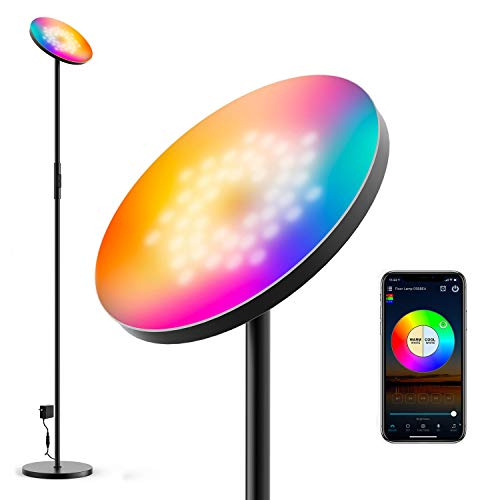 Zombber Smart Floor Lamp Sky Super Bright WiFi Lamp RGB LED 2000 Lumen Modern Dimmable Color Changing Torchiere Lamp for Living Rooms Bedrooms Work with Alexa & Google Home, Black (Black)