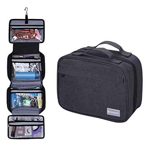 Hanging Toiletry Bag for Men and Women - Dopp Kit Waterproof Wash Bathroom Shower for Travel Portable Make Up Pouch by HOKEMP (Black)