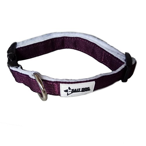 Salt Dog Natural Hemp Collar (Medium, Plum Purple) (Plum Fashion Pet)