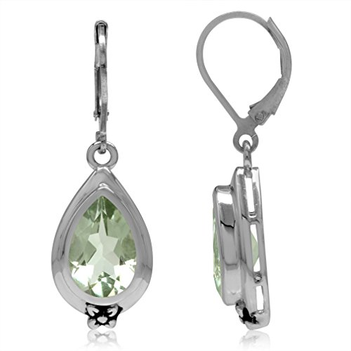 5.44ct. 12x8MM Natural Pear Shape Green Amethyst 925 Sterling Silver Flower Drop Leverback Earrings