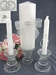 Rhinestone Rings Wedding Unity Candle Set: Ring Color: Silver - Candle Color: White