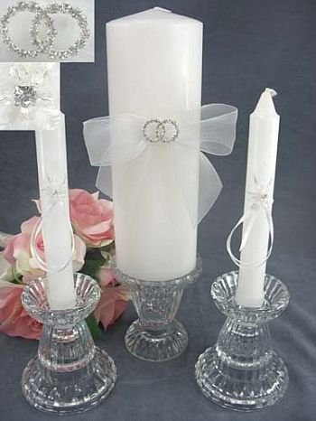 Rhinestone Rings Wedding Unity Candle Set: Ring Color: Silver - Candle Color: Ivory Wedding Collectibles SKU8945-3