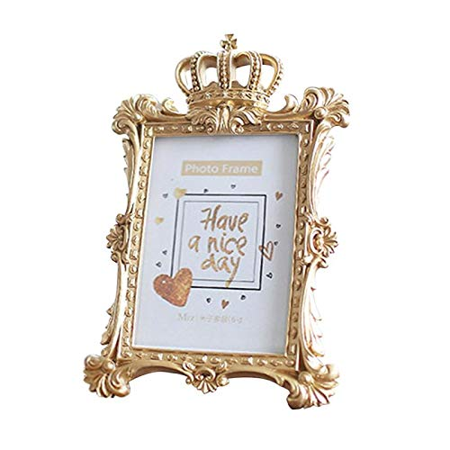 20 Baroque Piece - Glass figurines Picture Frame - 1 Piece 5 Model Luxury Baroque Style Gold Crown Resin Photo Frame Decorative Picture Frame with Kickstand for Standing on Table
