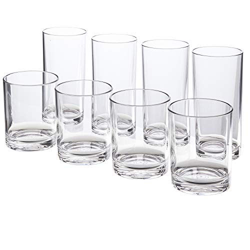 (Classic 8-piece Premium Quality Plastic Tumblers | 4 each: 12-ounce and 16-ounce Clear)