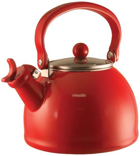 Reston Lloyd Calypso Basics Whistling Teakettle with Glass Lid, Red by Reston Lloyd