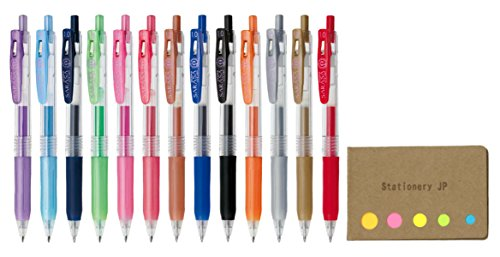 Zebra Sarasa Clip 1.0 Retractable Gel Ink Pen, Rubber Grip, 1.0 mm, 13 Color Ink, Sticky Notes Value Set