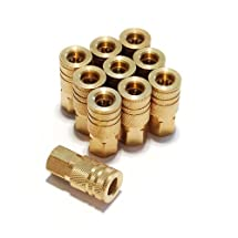 Primefit IC1414FB6-B10-P 1/4-Inch 6-Ball Brass Female Industrial Coupler Contractor Pack, 10-Piece