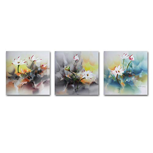 Muzagroo Art Stretched Oil Painting Lotus Original Art 100% Hand Painted Art for Living Room Canvas Pictures 3 Panels (16x16inx3pcs) ()