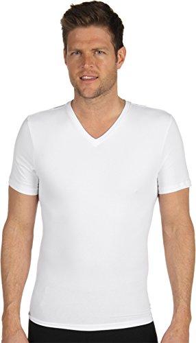 SPANX Cotton Compression V-Neck T-Shirt, L, White (Spanx Cotton)