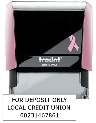 3 Line Breast Cancer Awareness for Deposit Only Stamp (Bank Name, Account Number) Breast Cancer Awareness Line