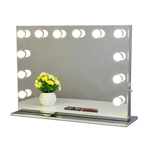 Chende Hollywood Lighted Makeup Vanity Mirror Light with Dimmer Christmas Gift (8065, Frameless) by Chende