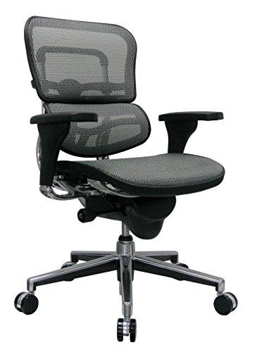 Eurotech Seating Ergohuman ME8ERGLO-GREY(N) Mid Back Mesh Swivel Chair, Grey