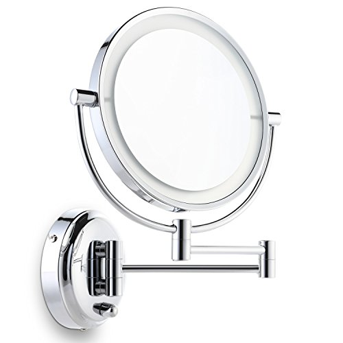 Miusco Lighted Magnifying Double Side Adjustable Makeup Mirror, Wall-Mounted, 8 inch, Chrome