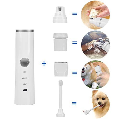 FAOUGESS Pet Grooming Kit for Dog Cat, Include Rechargeable Pet Clippers Cordless,Dog Nail Trimmer,Dog Electric Toothbrush and Pet Massage Brush