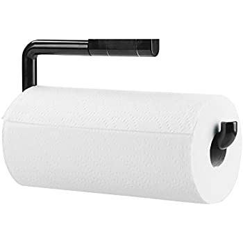 mDesign Wall Mount Paper Towel Holder for Inside Kitchen Cabinets and Home u2013 Black  sc 1 st  Amazon.com & Amazon.com: mDesign Wall Mount Paper Towel Holder for Inside Kitchen ...