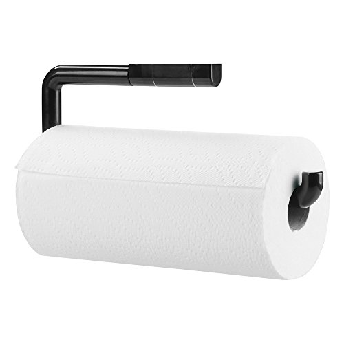 mDesign Wall Mount Paper Towel Holder for Inside Kitchen Cabinets and Home � Black
