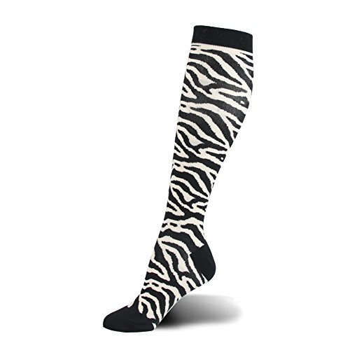 Maternity Zebra - HLTPRO Compression Socks Women & Men 20-30 mmHg - 1 to 4 Packs Graduated Compression Athletic Stocking Running, Crossfit, Travel- Suits, Nurse, Maternity Pregnancy (1 Pair,White Zebra, S/M)