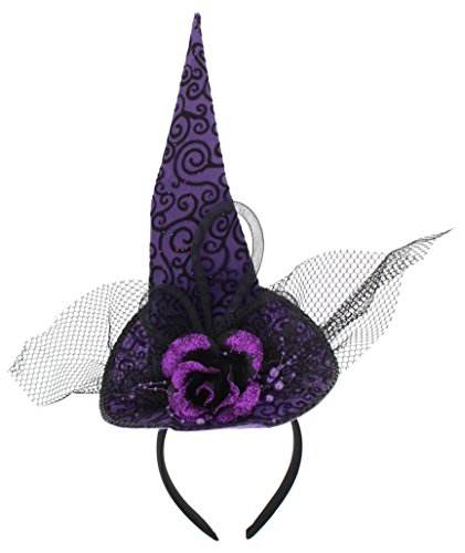 Women's Halloween Glittery Fashionista Witch Hat Headband (Purple, (Quick Easy Halloween Costumes For Teachers)