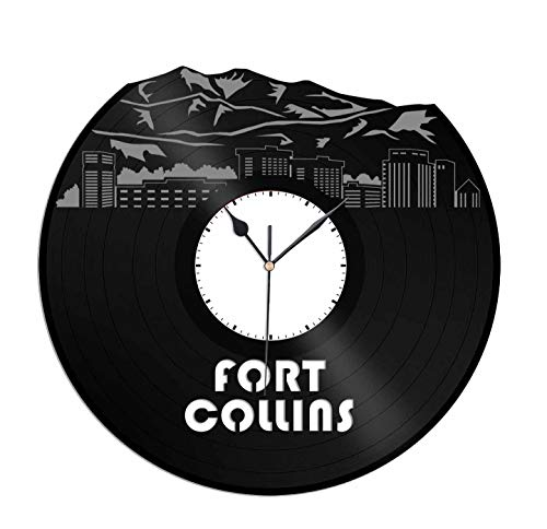 VinylShopUS - Fort Collins Vinyl Wall Clock City Skyline Best Gift for Office and Bedroom | Home Decoration]()