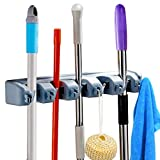 LALASTORE Pack of 2 Mop and Broom Holder Wall Mount Storage with 5 Position 6 Foldable Hooks, Storage Tool Rack Storage & Organization for Your Home, Closet, Garage and Shed