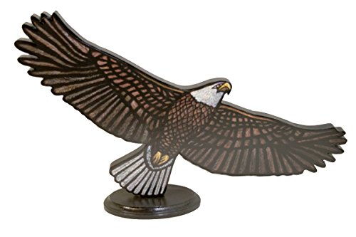 Bald Eagle Stained Glass - Bald Eagle Soaring - 24 in. x 10.5 in - sculpture - short stand