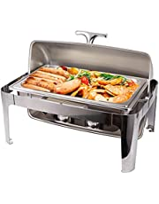 Chafing Dish Buffet Set Roll Top Rectangle Chafer, Stainless Steel Chafing Dishes Full Size Pan Chafer Dish Set, Food Warmer Dinner Serving Warmer for Party, Banquet, 9 QT