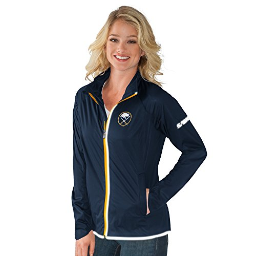 GIII For Her NHL Buffalo Sabres Women's Batter Light Weight Full Zip Jacket, Large, Navy ()