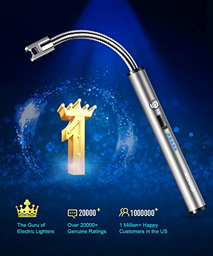 RONXS Candle Lighter, Upgraded Electric Arc Lighter with LED Battery Display Safety Switch, USB Rechargeable Lighter w/Longer Flexible Neck for Camping Cooking BBQs Fireworks