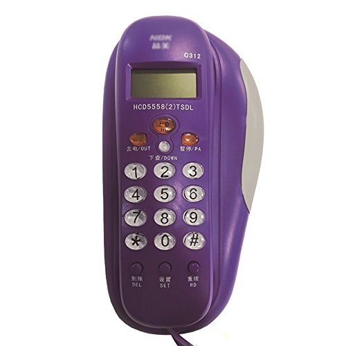 Fixed Telephone Home Office Small Hanging Machine Hotel Wall Mount Small Extension Caller ID (Color : Purple)