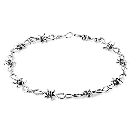 (HZMAN Men's Punk Gothic Alloy Barbed Wire Necklace 20 Inch (Silver-2))